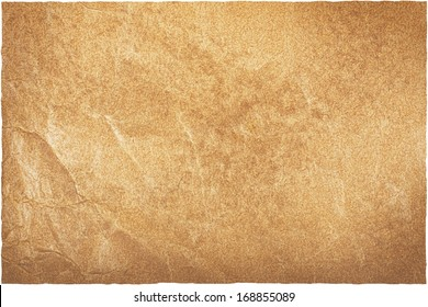 Jammed brown old worn packing paper or cardboard background with ragged edge that was became weary highlighted by sun or day light, clipping path included