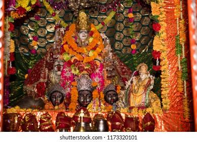 Jammu / India 23 July 2018 Statue of Goddess Vaishno Devi at Jammu city temple in India