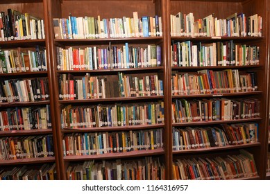 Jammu / India 24 July 2018 Many Book Placed Wooden Shelf In The old Library at Jammu and Kashmir India