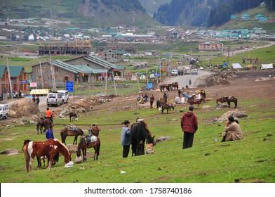 Jammu Kashmir,India-06 August,2017: Kashmir people In the Jammu Kashmir Union Territory near border .