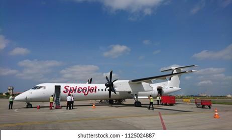 Jamnagar, Gujarat/India- September 28, 2017: A Spicejet ATR plane at the Jamnagar Airport in Gujarat