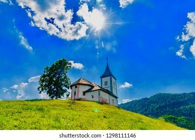 Jamnik, Slovenia - August 21 2018: panorama of green hills of Slovenia in summer