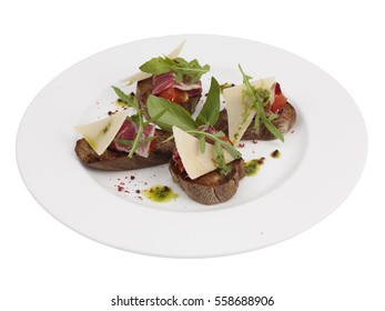 Jamon Ham Bacon Meat Parmesan Cheese Bruschetta Italian Antipasto Topped Appetizer Snack Dish Set