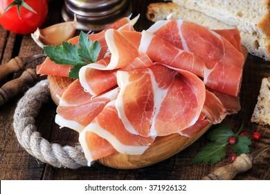 Jamon serrano - Spanish cured ham or Italian prosciutto