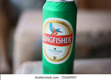 JAMPORE BEACH, DAMAN, INDIA - OCTOBER 9, 2017: A macro shot of a can of a cold Kingfisher brand beer being sold at the JAMPORE BEACH, DAMAN, INDIA.