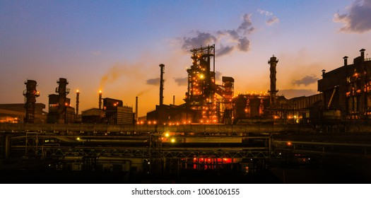 Jamshedpur,Jharkhand,India,May 10,2011:Panoramic view of large steel plant with glowing lights at dusk from