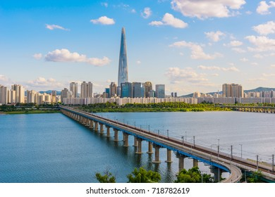 Jamsil brige and Han river view of Seoul city at today in South Korea.