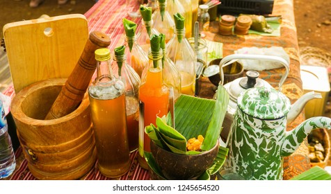 jamu or traditional healthy drink made from spice in bottle from indonesia
