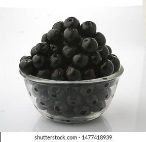 Jamun fruit in glass bowl