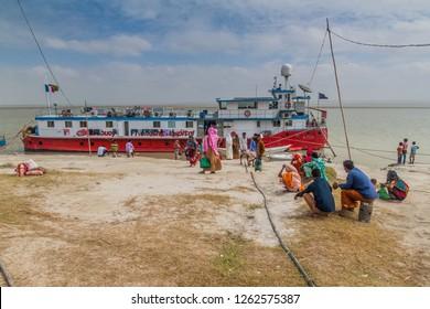 JAMUNA, BANGLADESH - NOVEMBER 7, 2016: Lifebuoy Friendship floating Hospital provides  healthcare services to communities on a chars (sandbank islands) in Jamuna river, Bangladesh.