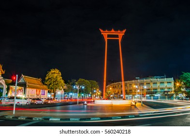 JAN 01:2017.Traffic at night at The Giant Swing is a religious structure in Phra Nakhon, Bangkok, Thailand.