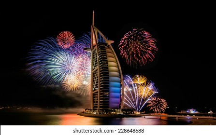 JAN 1, 2014 - DUBAI: The Burj Al Arab luxury hotel during their New Year's event.in dubai on jan 1, 2014