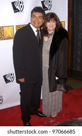 Jan 10, 2005; Los Angeles, CA:  Comedian GEORGE LOPEZ & wife at the 10th Annual Critcs' Choice Awards at the Wiltern Theatre, Los Angeles.