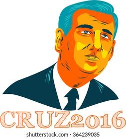 Jan. 19, 2016: WPA style illustration showing Rafael Edward Ted Cruz, an American senator, politician and Republican 2016 presidential candidate with words Cruz 2016.
