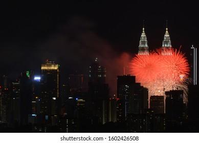 Jan 1st,2020 / Kuala Lumpur, Malaysia - A firework display near KLCC to welcome the New Year 2020.