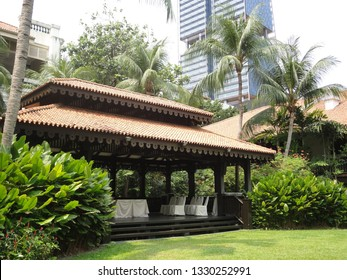 Jan 2010 - Singapore: Garden inside Raffles Hotel, which is the most famous luxury hotel in Singapore and a historic landmark since 1887.