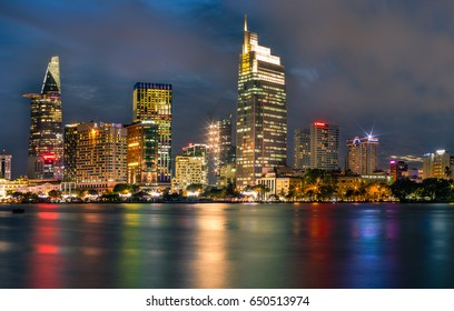 JAN 2017: Downtown Saigon in sunset , Ho Chi Minh city is the biggest city in Vietnam.