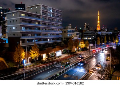 Jan 2018 - Tokyo,JAPAN: Night view of Roppongi at Tokyo Japan, with Tokyo Tower light up at the back.