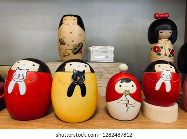 "Jan 2019 - Gunma, Japan: ""Kokeshi"", sold at Gunma. Kokeshi are simple wooden dolls with no arms or legs that have been crafted for more than 150 years as a toy for children.They are handmade from wood"