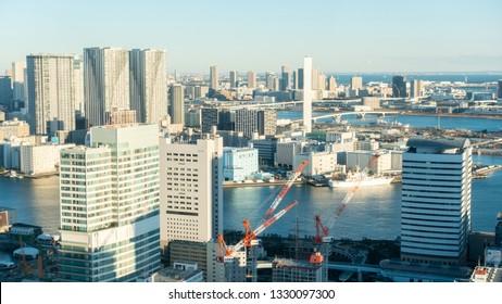 Jan 2019 - Tokyo, JAPAN: Landscape of Tokyo City taken at Shidome.