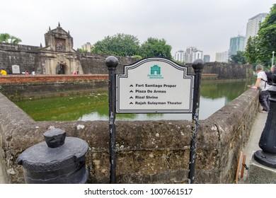 Jan 21,2018 at front of Fort Santiago sign , Intramuros, Manila, Philippines