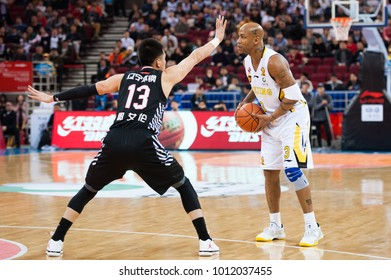 Jan 24, 2017 - Beijing, China: Stephon Marbury is defended by Guo Ailun during a CBA game between Beijing Fly Dragons and Liaoning at Cadillac Arena, on January 24, 2017, in Beijing, China.