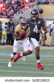 Jan 26, 2020; Orlando, FL USA; AFC quarterback Deshaun Watson of the Houston Texans scrambles during the Pro Bowl at Camping World Stadium in  Orlando, Fla. (Steve Jacobson/Image of Sport)