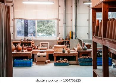 JAN 28, 2013 Naha, Okinawa, JAPAN : Okinawa style Ceramic clay pottery art workshop, Ceramic pottery making studio with no people