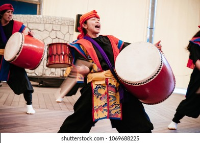 JAN 28, 2013 Naha, Okinawa, JAPAN : Okinawa Eisa drum dance with active dancer in traditional cloth