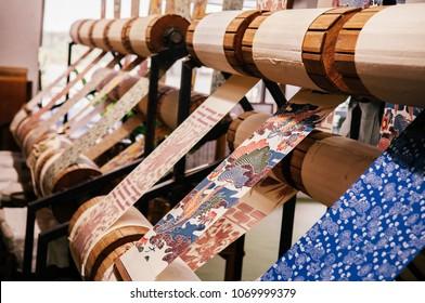 JAN 28, 2013 Naha,Okinawa, JAPAN : Okinawa  handmade textile using for traditional Kimono or cultural costume