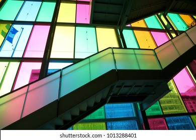 Jan 29th, 2017: The colourful wall inside the Palais de Congres in Montreal, Canada