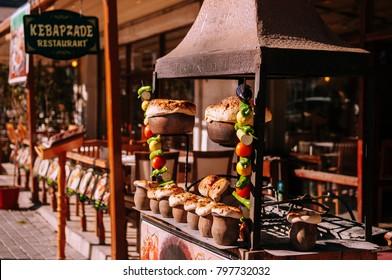 JAN 3 Goreme, Turkey : Local restaurant that sell Cappadocia traditional Turkish cuisine Testi Kebab  in clay pot