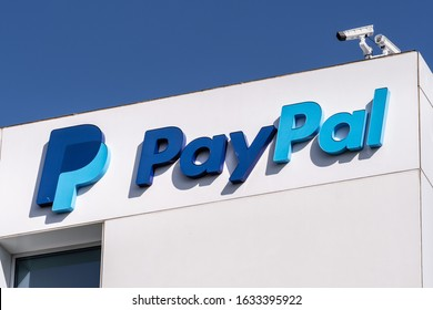 Jan 31, 2020 San Jose / CA / USA - Close up of PayPal logo at their headquarters in Silicon Valley; PayPal Holdings Inc. is an American company operating a worldwide online payments system