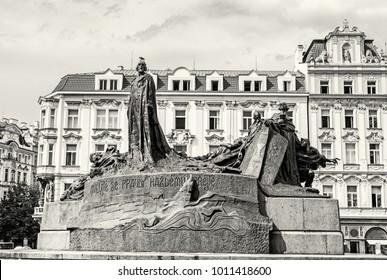 Jan Hus Memorial, Old Town Square, Prague, Czech Republic. Architectural theme. Travel destination. Black and white photo.