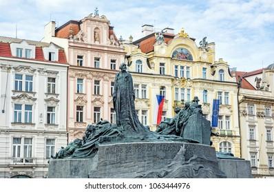 Jan Hus Memorial, Old Town Square, Prague, Czech Republic. Architectural theme. Travel destination.