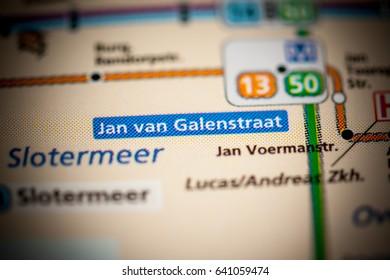 Jan van Galenstraat Station. Amsterdam Metro map.