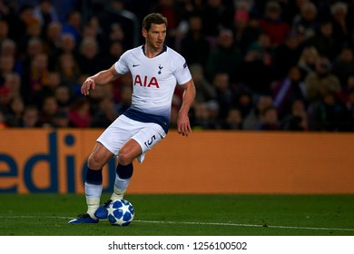 Jan Vertonghen of Tottenham during the match between FC Barcelona and Tottenham Hotspurs at Camp Nou Stadium in Barcelona, Spain on December 11, 2018.