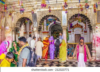 JANAKPUR, NEPAL - MARCH 19, 2014: A religious ceremony at Janaki Mandir. The temple  was buildt in 1911 AD, and is dedicated to goddess Sita.