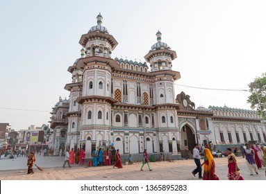 Janakpur, Nepal - March 30, 2019: Ram Janki temple in Janakpur is believed to be the place where Hindu Lord Ram and Sita got married. It is located in souther part of Nepal, close to India border.