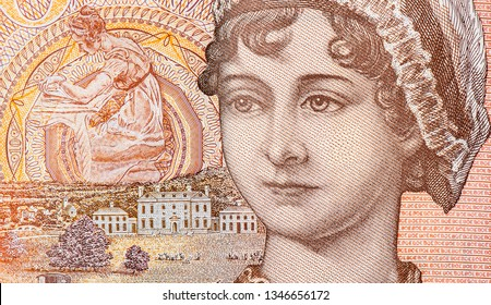 """Jane Austen, Elizabeth Bennet (protagonist of the novel """"Pride and Prejudice"""" by Jane Austen), Portrait from Great Britain 10 Pounds 2016 Banknotes. An Old paper banknote, Famous ancient Banknotes."""
