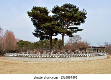 Jangdokdae, traditional Korean terrace for Jangdok or Onggi jars for the fermentation of Kimchi, soybean paste Doenjang and red chili paste Gochujang