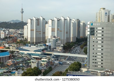 Janggwan-Dong, Daegu, South Korea - October 8 2018: Cityscape view of downtown Daegu with central monorail station, and the famous World 83 Tower in the distance