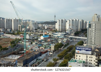 Janggwan-Dong, Daegu, South Korea - October 8 2018: Wide angle view over downtown Daegu with skyscraper construction in the foreground