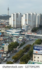 Janggwan-Dong, Daegu, South Korea - October 8 2018: Cityscape view over downtown Daegu with central monorail station, and the famous World 83 Tower in the distance