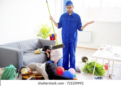 Janitor cleaning a mess