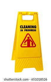 Janitorial sign of cleaning in progress isolated on white background