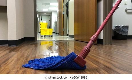 janitors cleaning mop bucket and mop