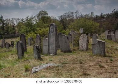 JANOW, POLAND - MAY 2, 2019: Jewish cementery kirkut in Kierkow in Jura Krakowsko Czestochowska from 1821 near Zarki