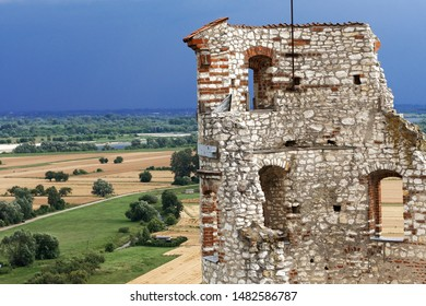 JANOWIEC - POLAND July 11 2019: Ruins of 16th century Kazimierz Dolny Castle defensive fortification Poland