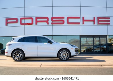 January 05, 2020 - Scottsdale, AZ, USA: Porsche MACAN in front of dealer shop. The Porsche Macan is a great luxury compact SUV. It boasts athletic handling, a stellar predicted reliability rating.